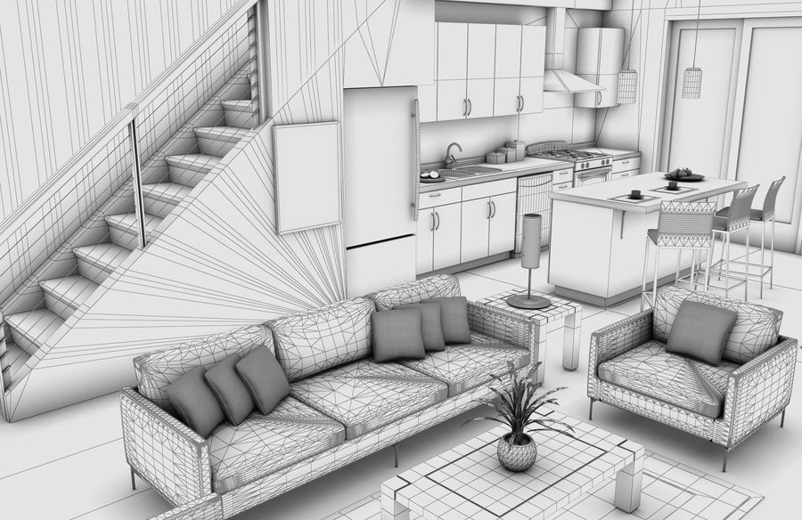 High def Modern Classic living Room royalty-free 3d model - Preview no. 6