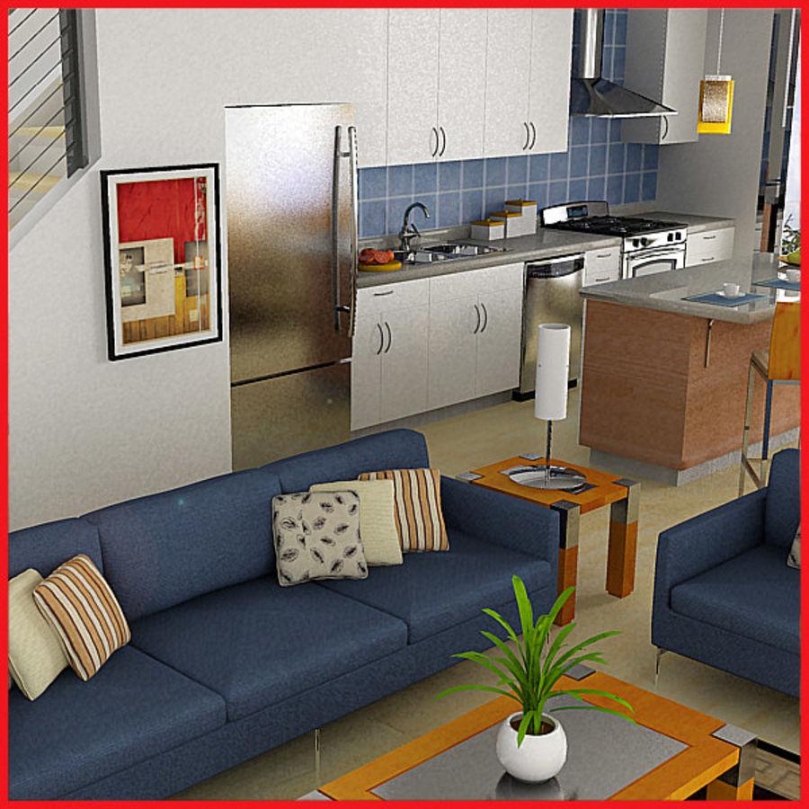 Alta definição Modern Classic Living Room royalty-free 3d model - Preview no. 1