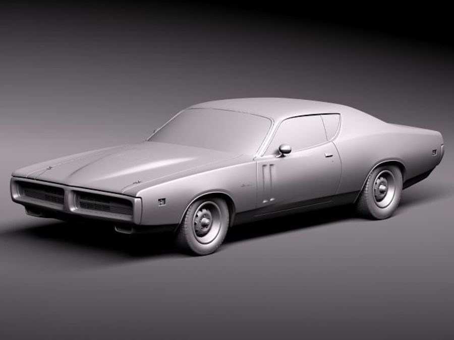Dodge Charger 1971 royalty-free 3d model - Preview no. 11