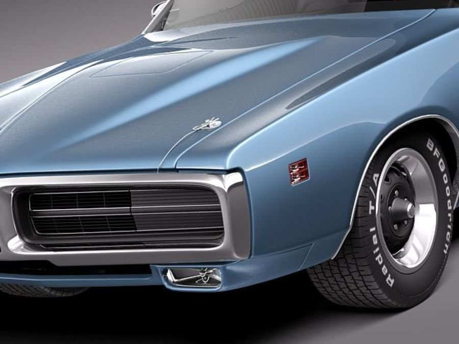 Dodge Charger 1971 royalty-free 3d model - Preview no. 3