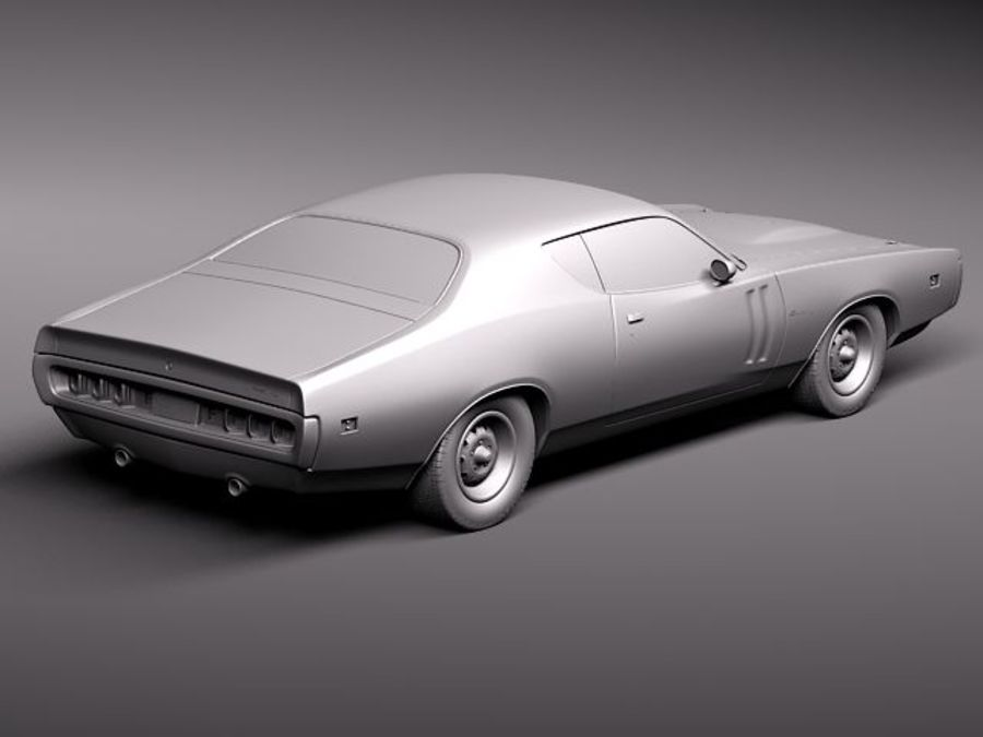 Dodge Charger 1971 royalty-free 3d model - Preview no. 9
