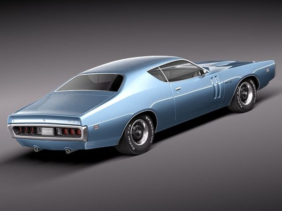 Dodge Charger 1971 royalty-free 3d model - Preview no. 6