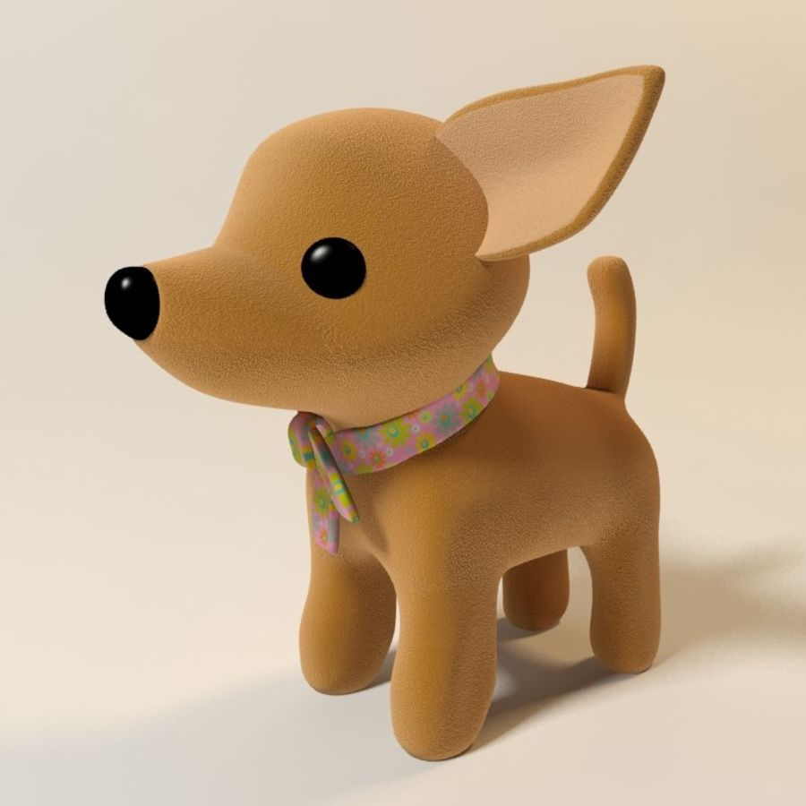 dog soft toy realistic royalty-free 3d model - Preview no. 4