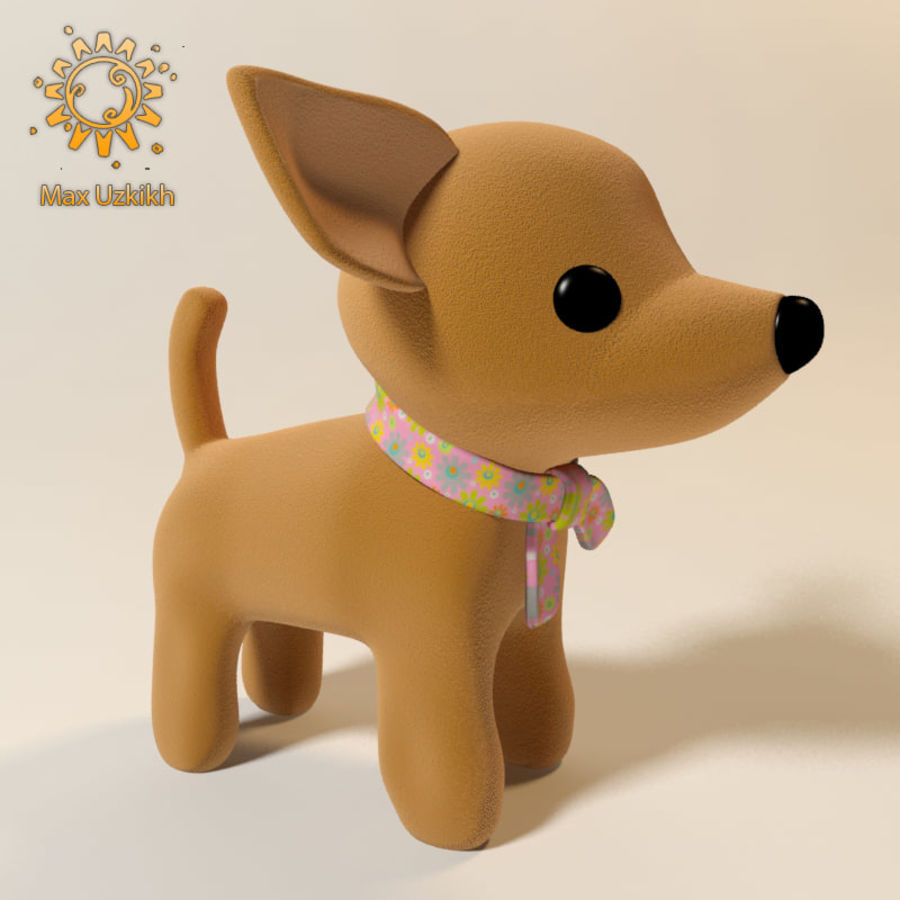 dog soft toy realistic royalty-free 3d model - Preview no. 1