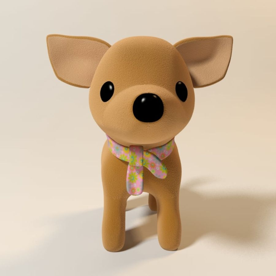 dog soft toy realistic royalty-free 3d model - Preview no. 3