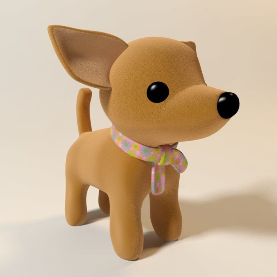 dog soft toy realistic royalty-free 3d model - Preview no. 2