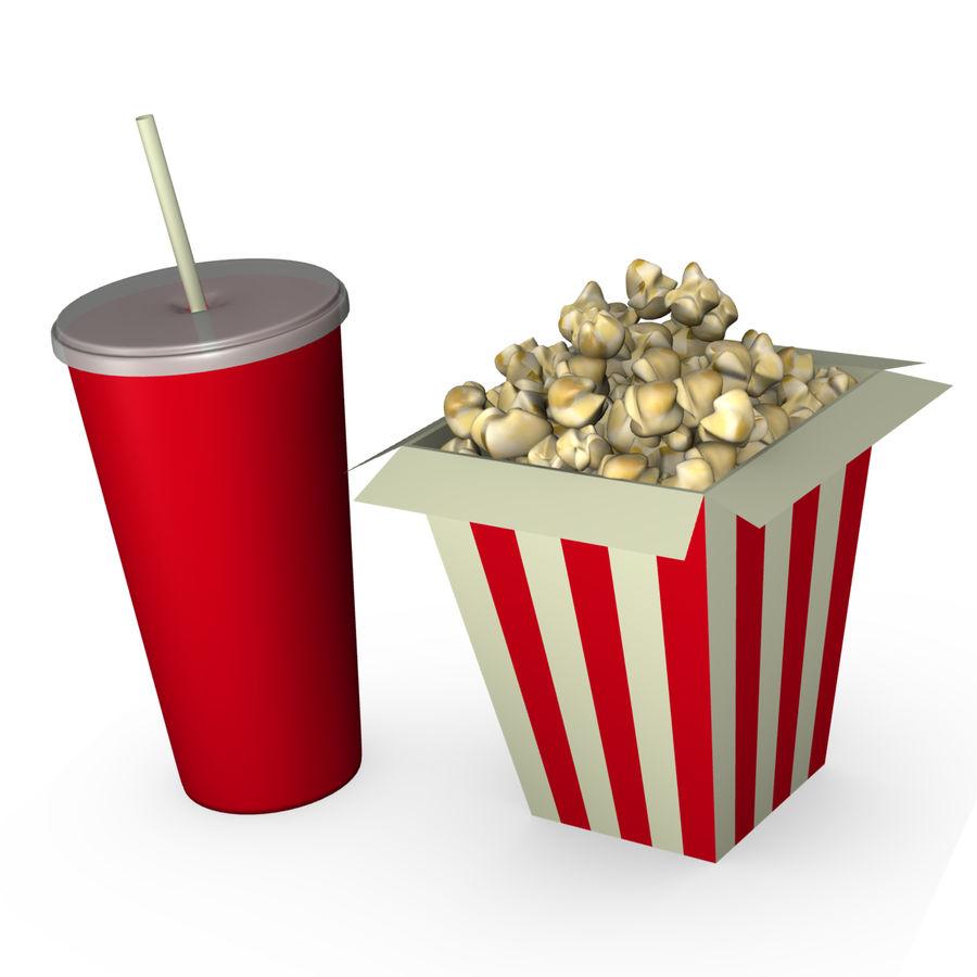 Popcorn i napój royalty-free 3d model - Preview no. 1