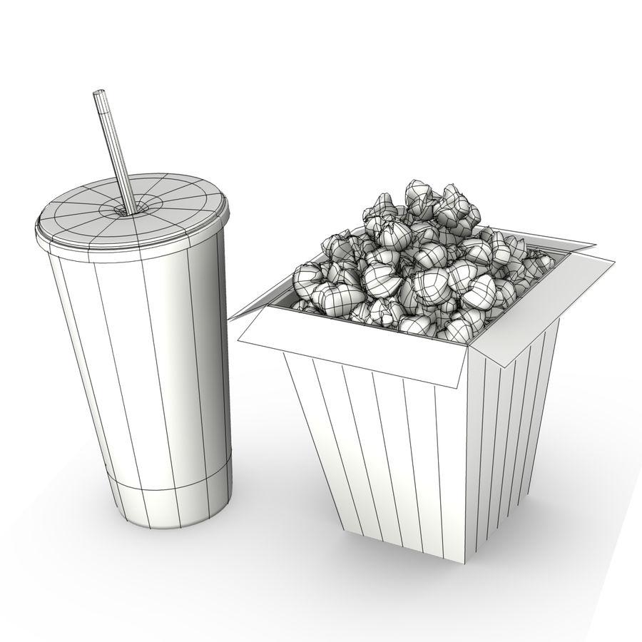 Popcorn i napój royalty-free 3d model - Preview no. 4