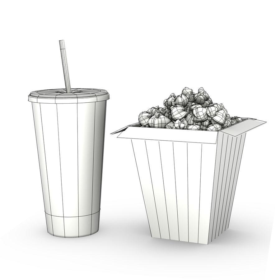 Popcorn i napój royalty-free 3d model - Preview no. 3