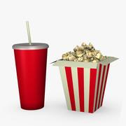 Popcorn i napój 3d model