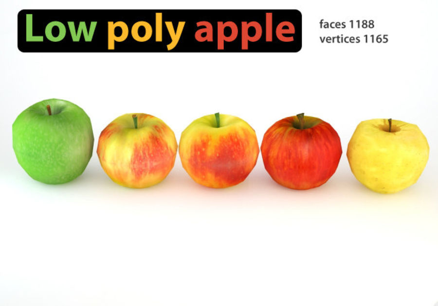 Pack Pommes Basse Poly royalty-free 3d model - Preview no. 1