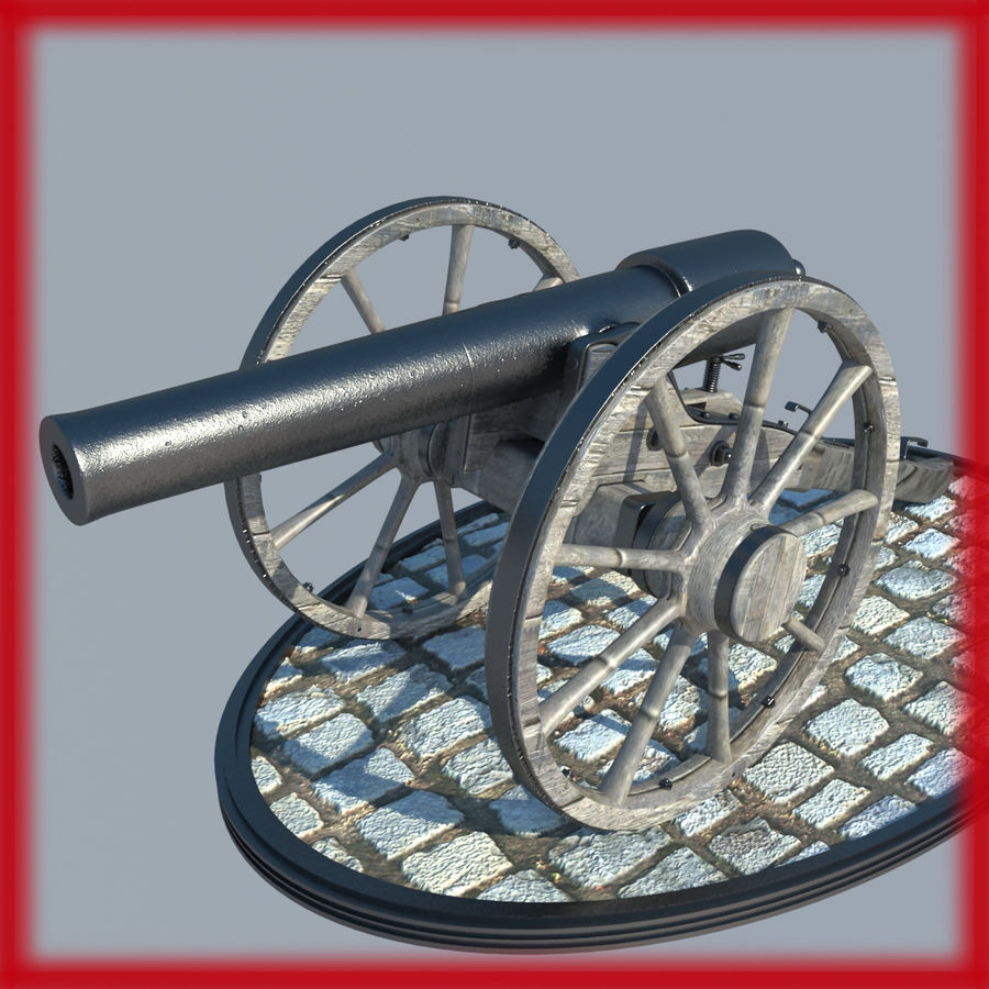2 CIVIL WAR CANNONS royalty-free 3d model - Preview no. 1