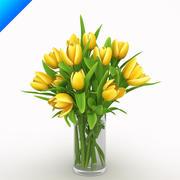 Tulipanes amarillos en florero modelo 3d