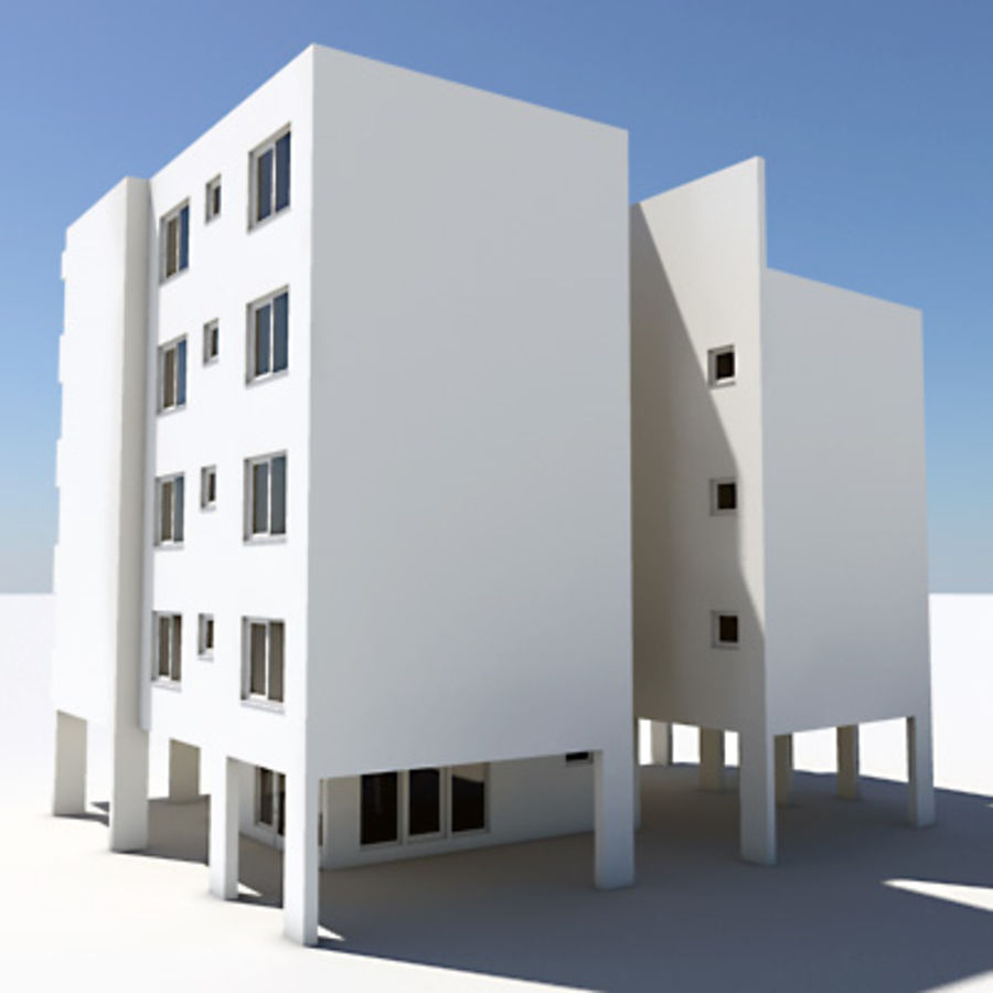 Apartment Building 03 royalty-free 3d model - Preview no. 2