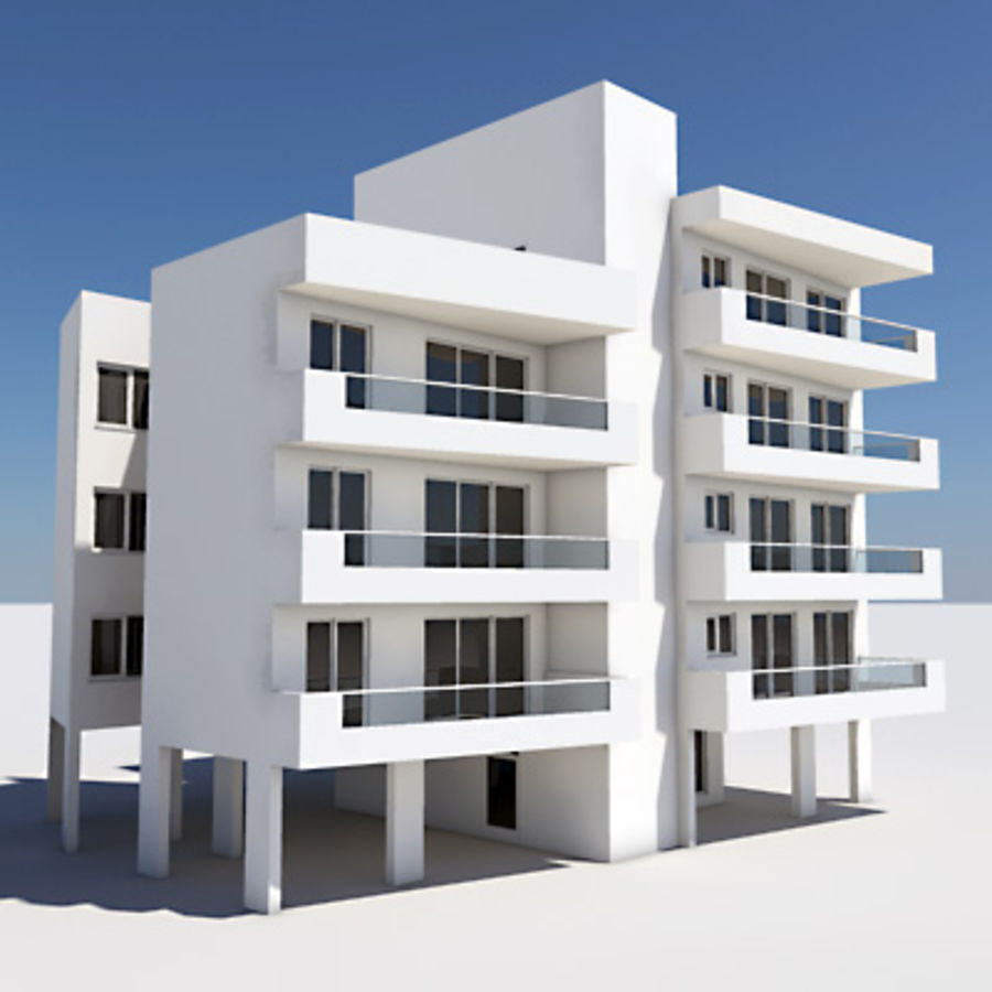Apartment Building 03 royalty-free 3d model - Preview no. 1