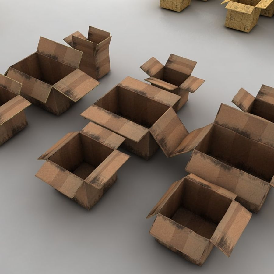 carboard paper boxes royalty-free 3d model - Preview no. 16