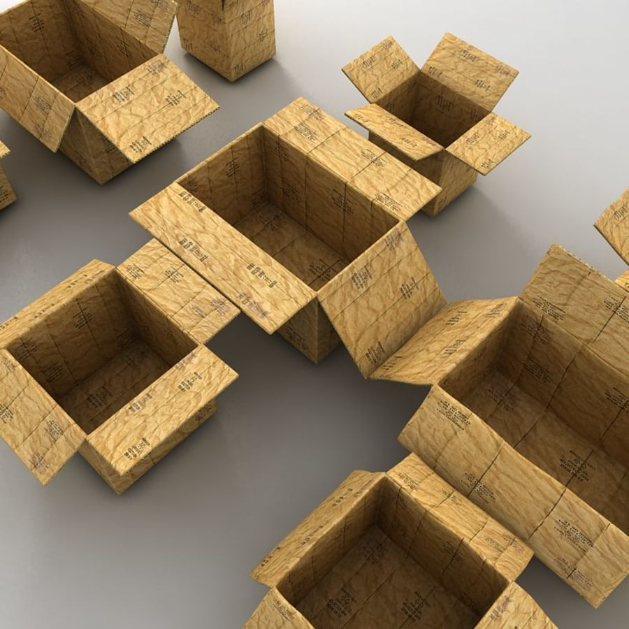 carboard paper boxes royalty-free 3d model - Preview no. 19