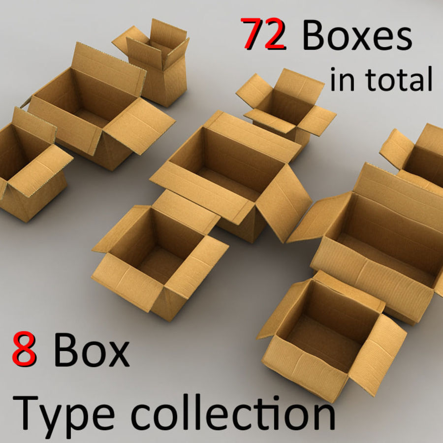 carboard paper boxes royalty-free 3d model - Preview no. 28
