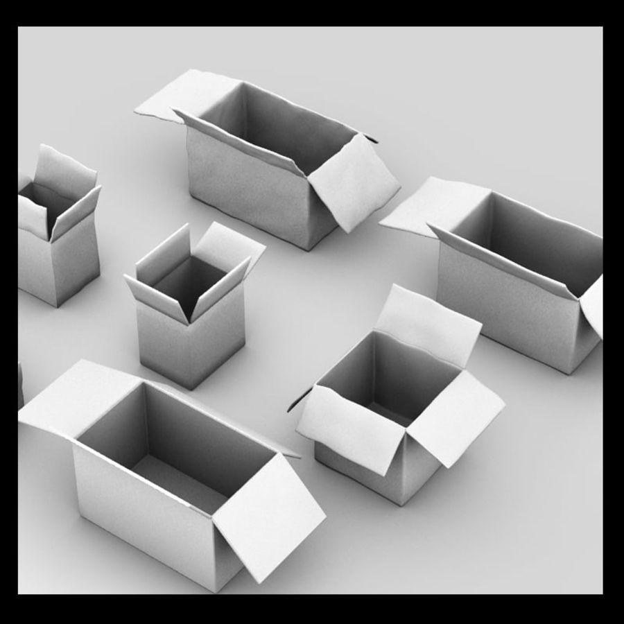 carboard paper boxes royalty-free 3d model - Preview no. 5
