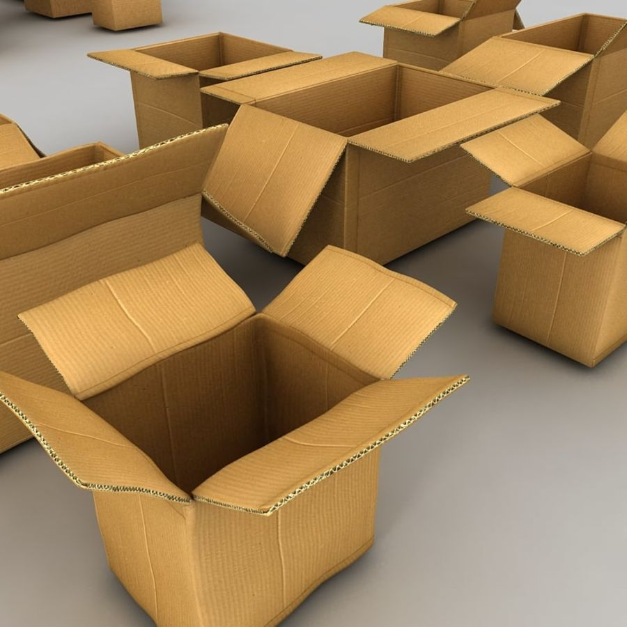 carboard paper boxes royalty-free 3d model - Preview no. 10