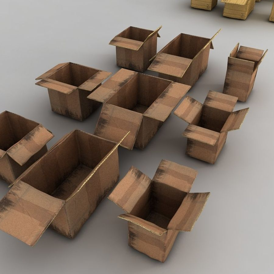 carboard paper boxes royalty-free 3d model - Preview no. 17
