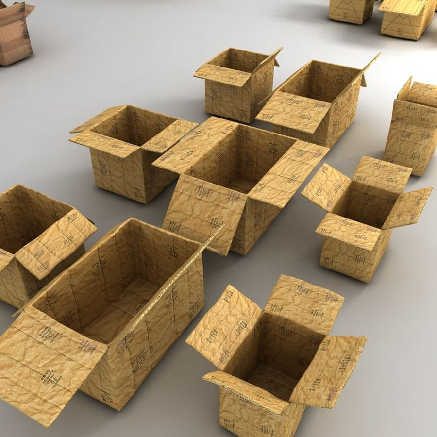 carboard paper boxes royalty-free 3d model - Preview no. 18