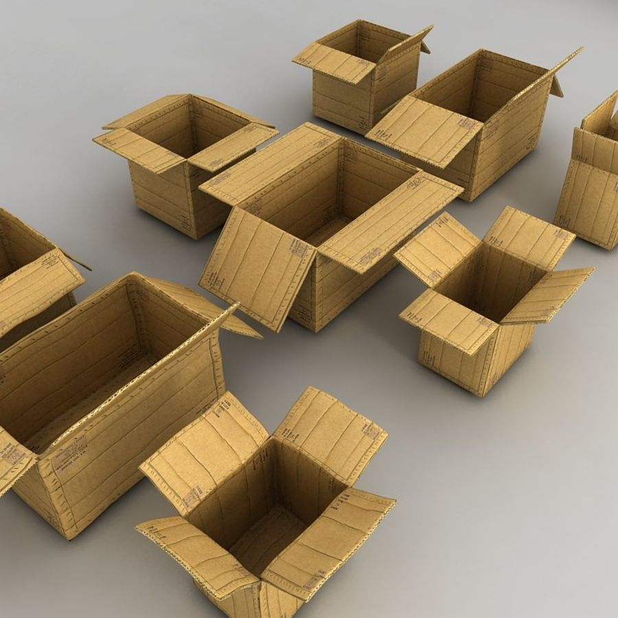 carboard paper boxes royalty-free 3d model - Preview no. 13