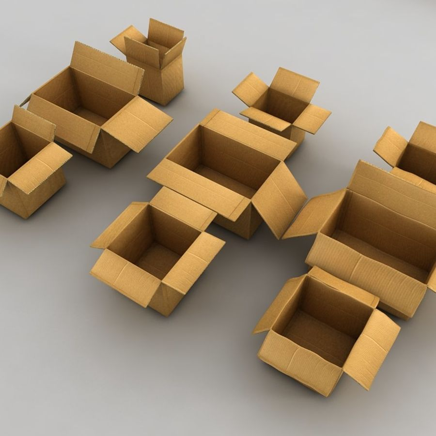 carboard paper boxes royalty-free 3d model - Preview no. 1