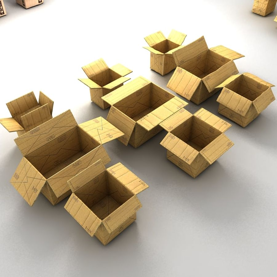 carboard paper boxes royalty-free 3d model - Preview no. 20
