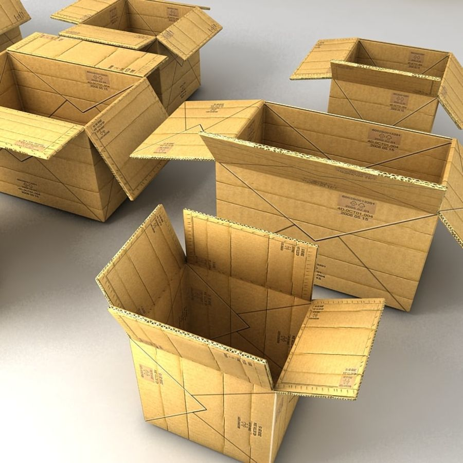 carboard paper boxes royalty-free 3d model - Preview no. 21