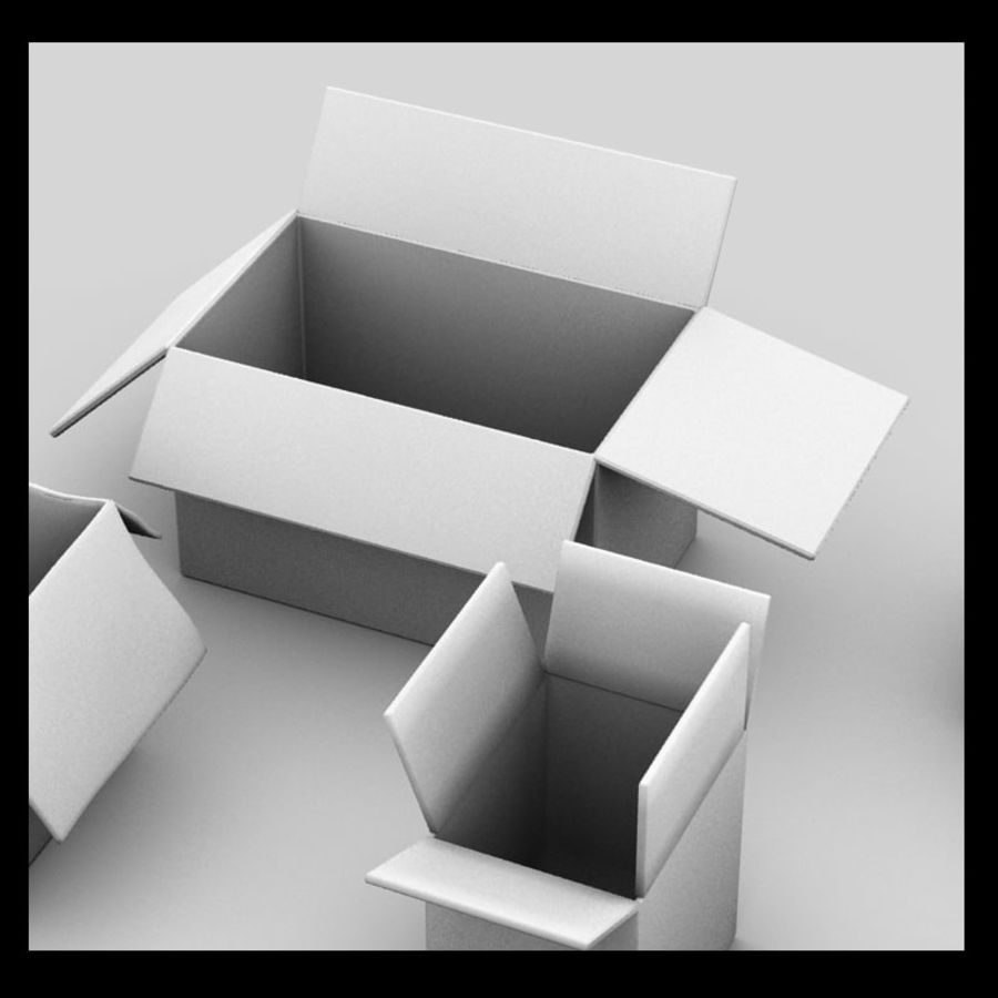 carboard paper boxes royalty-free 3d model - Preview no. 7