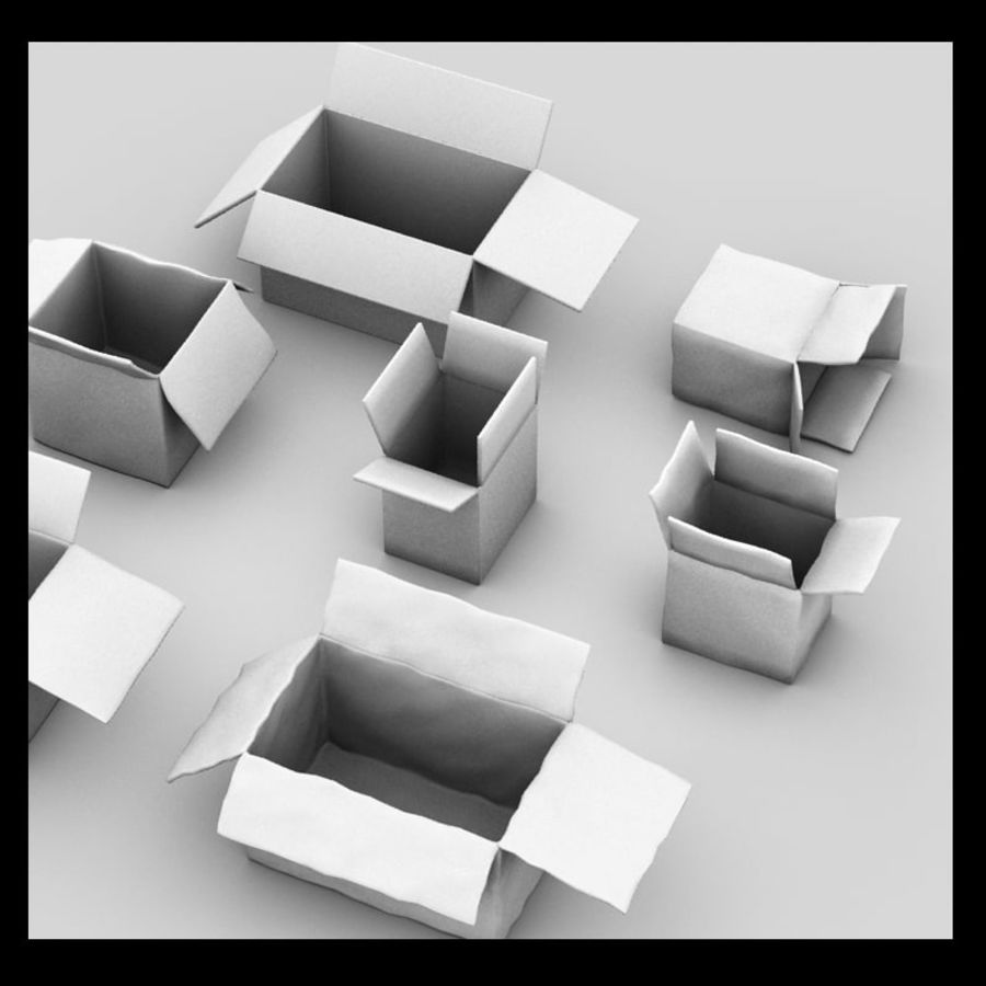 carboard paper boxes royalty-free 3d model - Preview no. 4