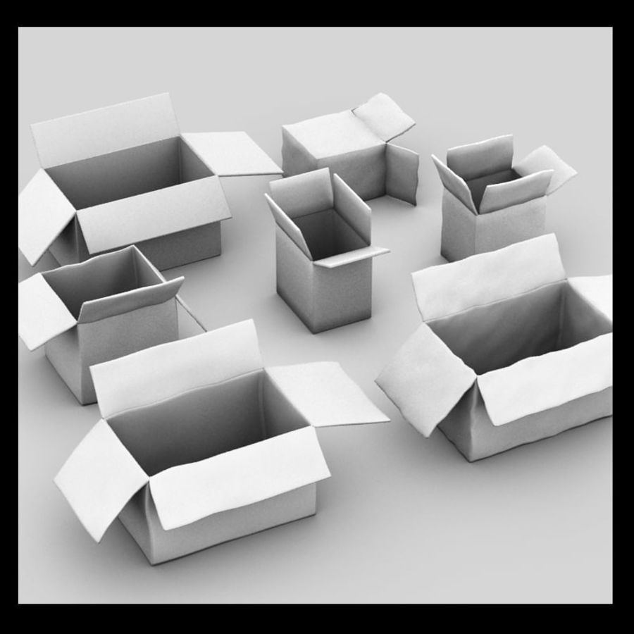 carboard paper boxes royalty-free 3d model - Preview no. 3