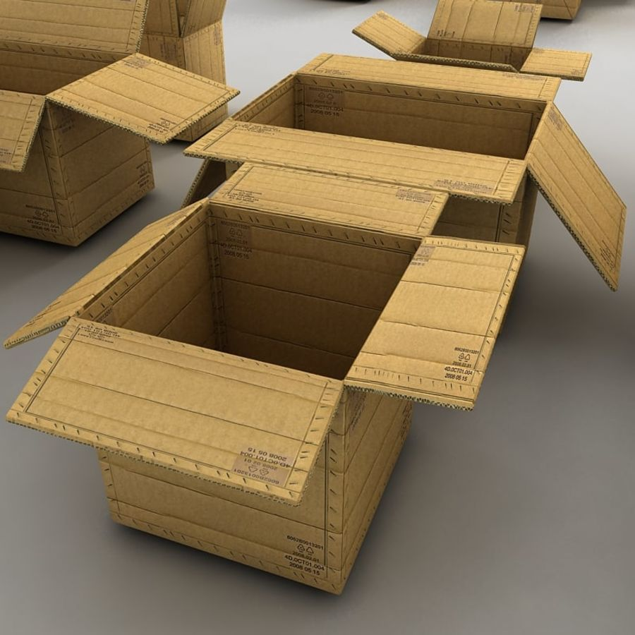 carboard paper boxes royalty-free 3d model - Preview no. 14