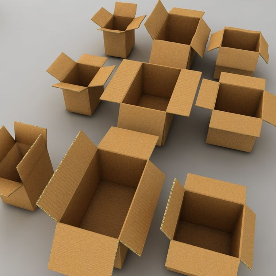 carboard paper boxes royalty-free 3d model - Preview no. 11