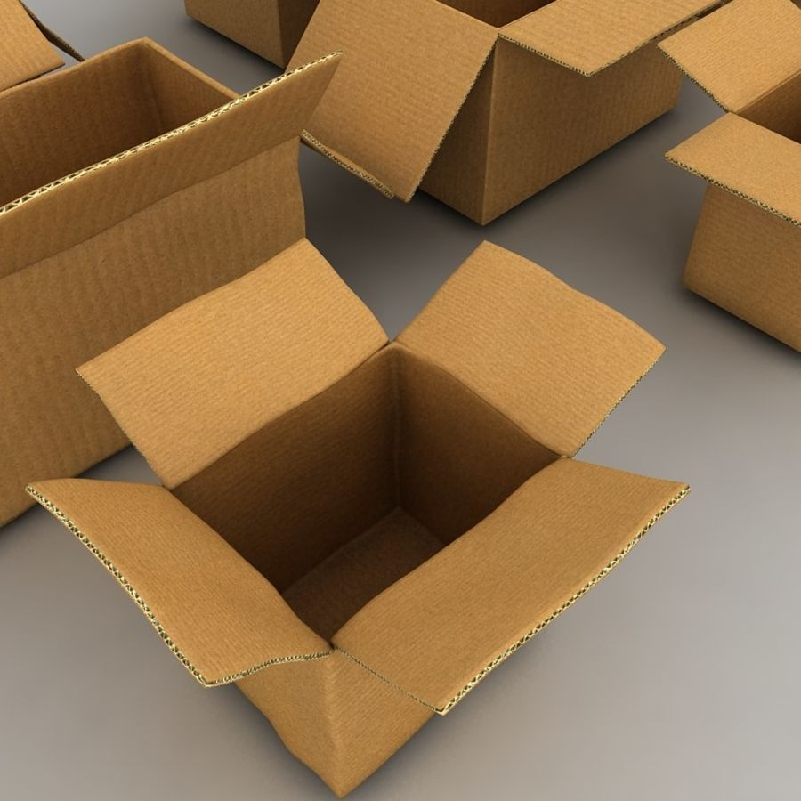 carboard paper boxes royalty-free 3d model - Preview no. 12