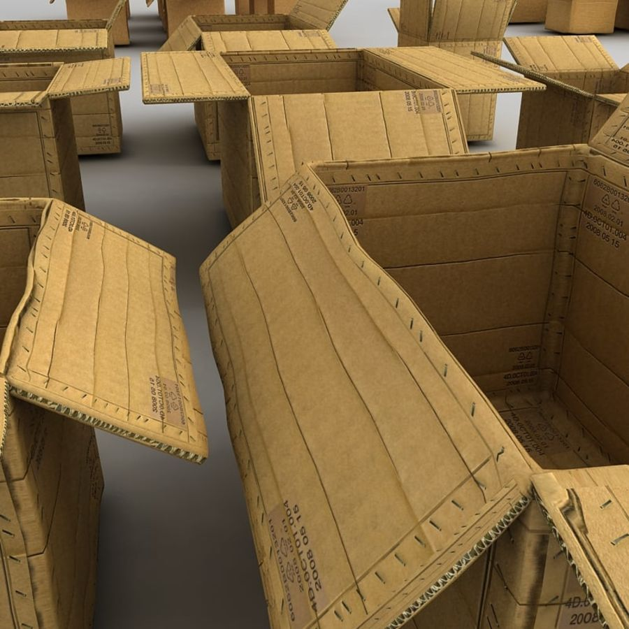 carboard paper boxes royalty-free 3d model - Preview no. 15