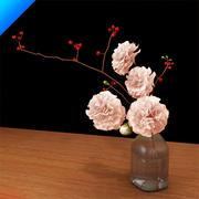 cravo em vaso de vidro 3d model