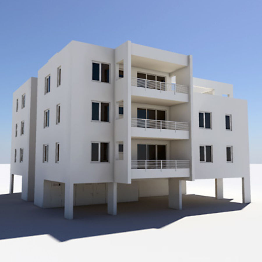 Apartment Building 05 royalty-free 3d model - Preview no. 2