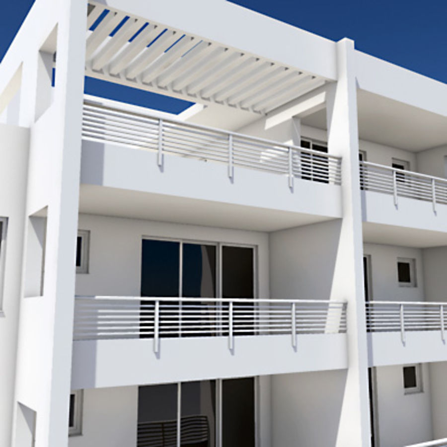Apartment Building 05 royalty-free 3d model - Preview no. 3