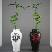 Planta de bambu afortunada no vaso 3d model