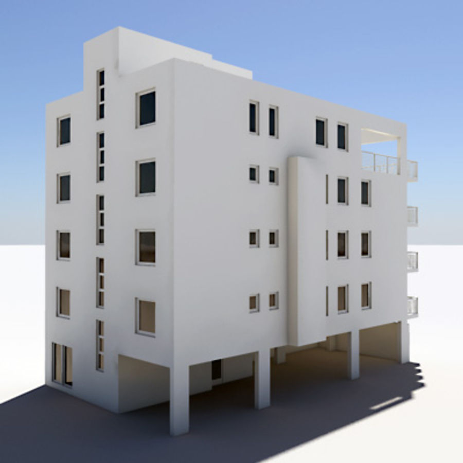 Apartment Building 01 royalty-free 3d model - Preview no. 2