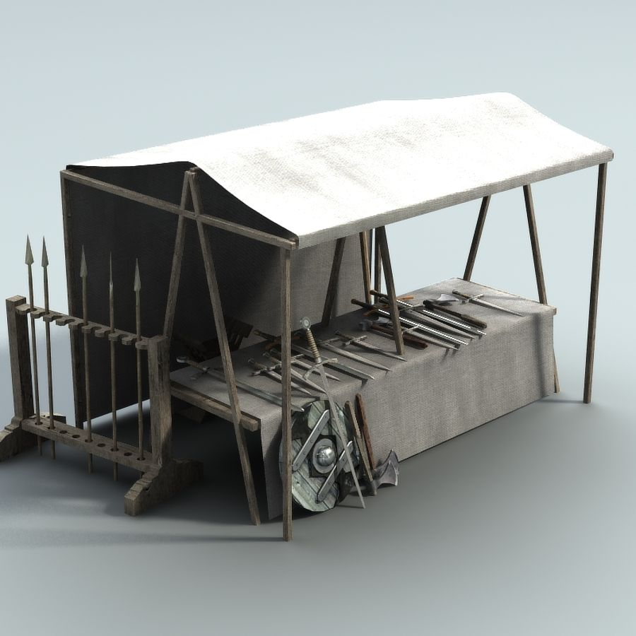 marketstall weapons (lowpoly) royalty-free 3d model - Preview no. 1