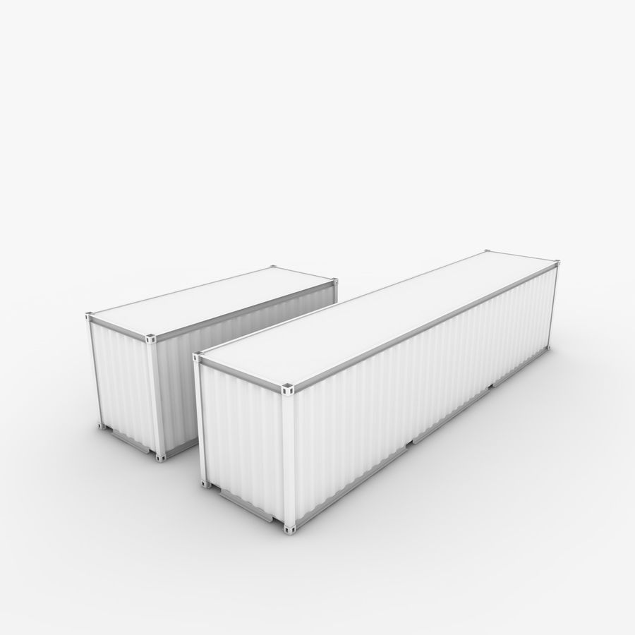 Shipping Container 40 Ft. & 20 Ft. royalty-free 3d model - Preview no. 5