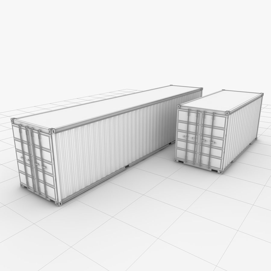 Shipping Container 40 Ft. & 20 Ft. royalty-free 3d model - Preview no. 9