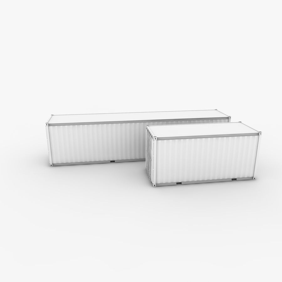 Shipping Container 40 Ft. & 20 Ft. royalty-free 3d model - Preview no. 2