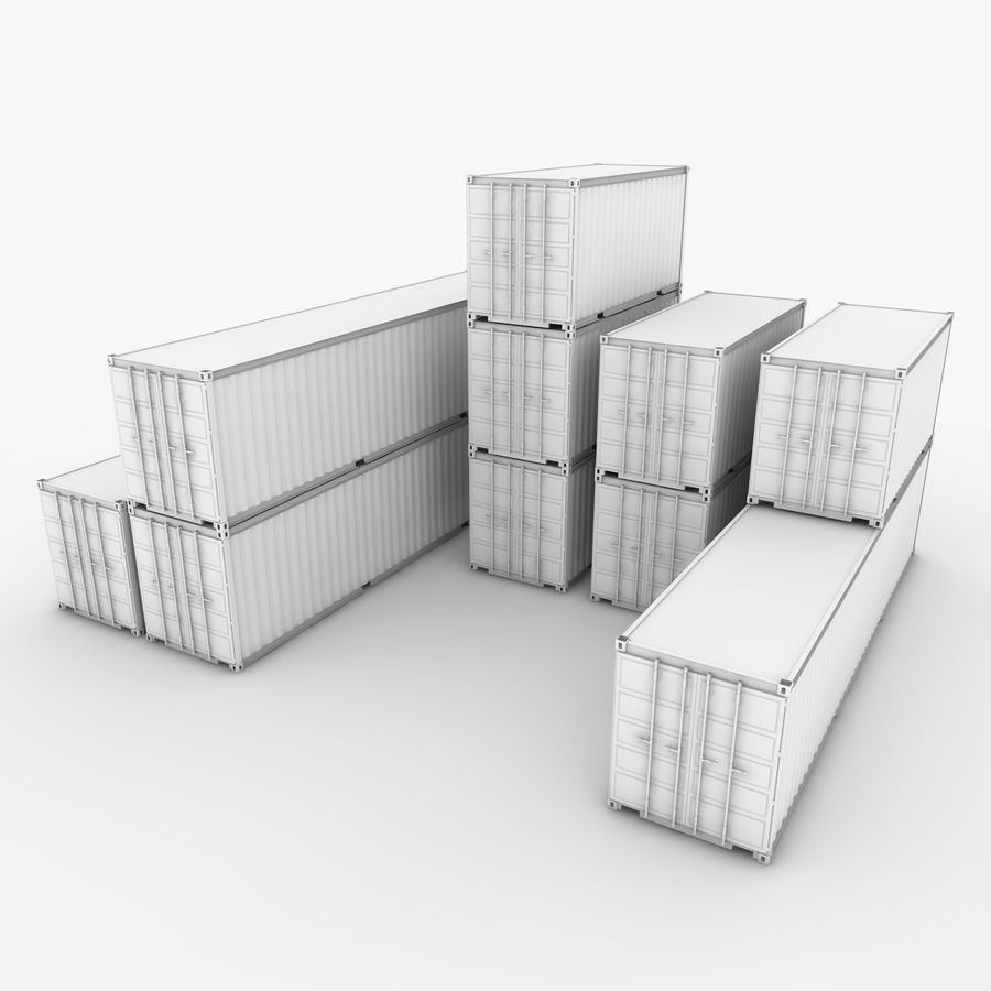 Shipping Container 40 Ft. & 20 Ft. royalty-free 3d model - Preview no. 11