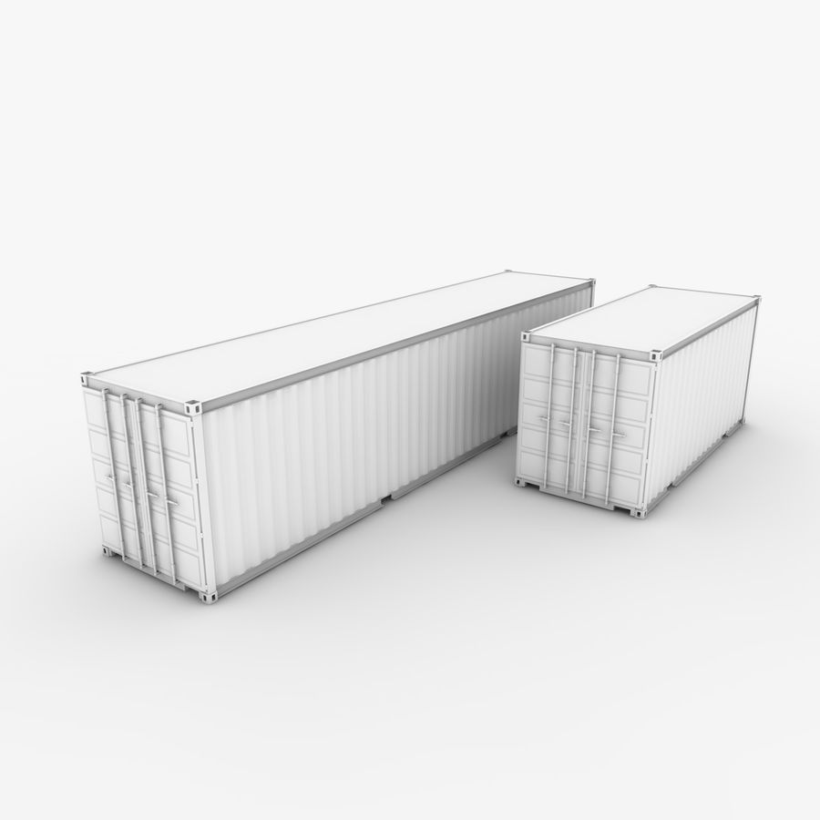 Shipping Container 40 Ft. & 20 Ft. royalty-free 3d model - Preview no. 1