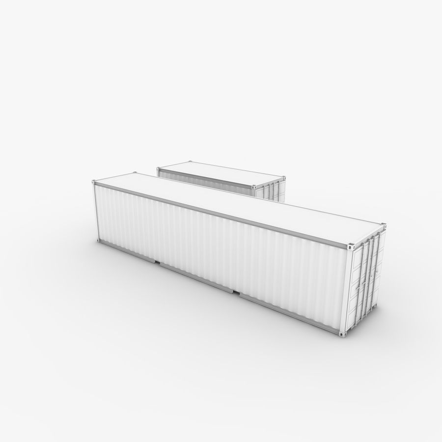 Shipping Container 40 Ft. & 20 Ft. royalty-free 3d model - Preview no. 7