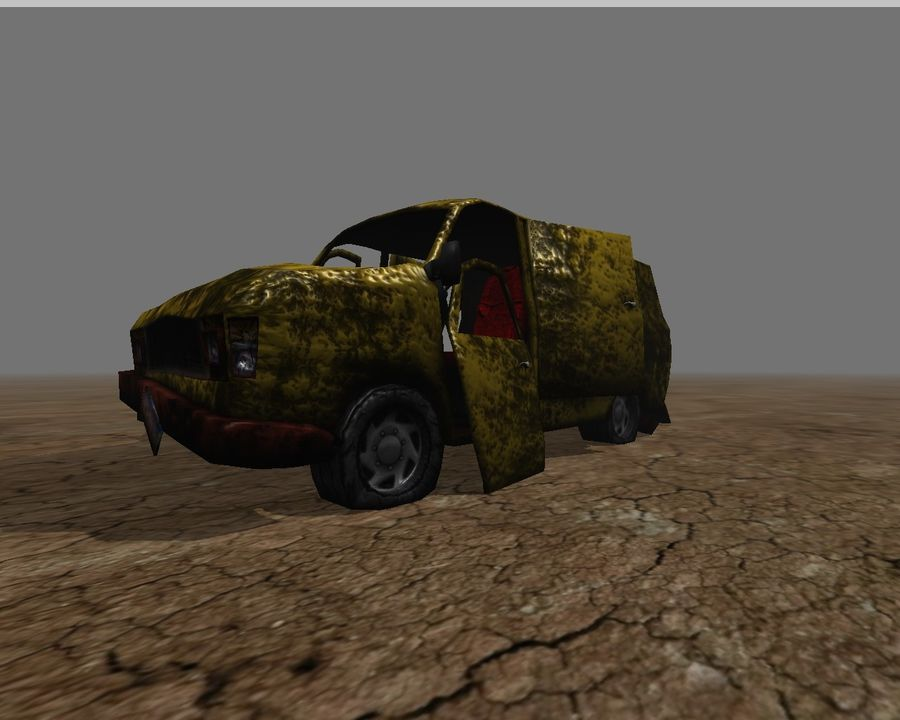 wrecked van 01 royalty-free 3d model - Preview no. 3